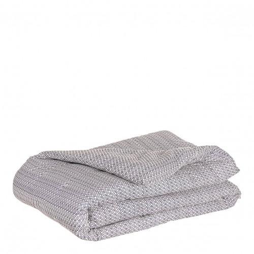Dessus de lit IKAT blanc et indigo