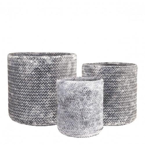Set de 3 corbeilles KIM gris