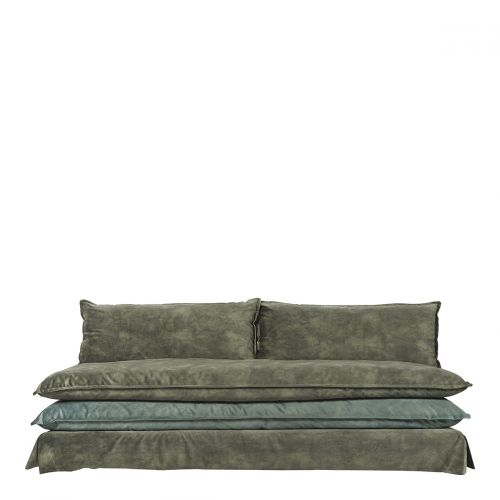 Canapé LEO velours mousse et gris bleu